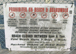 a sign explaining what not to do on the Seaside Heights' beach