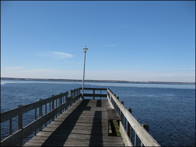 the present day dock at the old location of the barnegat bay railroad bridge