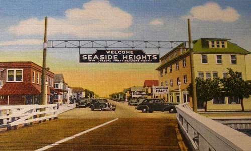 the original sign at the end of the wooden bridge in Seaside Heights