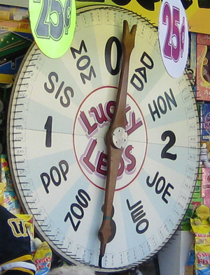 a wheel of chance from the Seaside Heights boardwalk